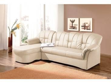 Domo Collection Polstergarnitur, beige, Recamiere links, B/H/T: 235x41x51cm, hoher Sitzkomfort