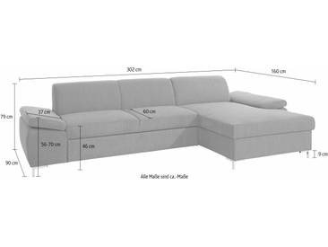 Domo Collection Ecksofa, grau, B/H/T: 302x46x60cm, hoher Sitzkomfort