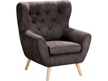 Home Affaire  Sessel  mit moderner Knopfheftung »VOSS«, dunkelbraun, B/H/T: 87x47x53cm, hoher Sitzkomfort