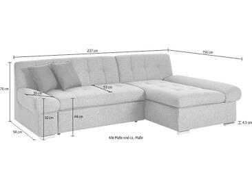 Trendmanufaktur Ecksofa ohne Bettfunktion, grau, Inkl. Zierkissen, hoher Sitzkomfort