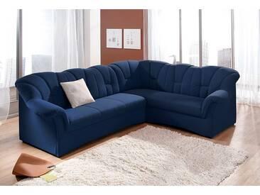 Domo Collection Polstergarnitur mit Schlaffunktion, blau, Langer Schenkel links, B/H/T: 242x41x51cm, hoher Sitzkomfort