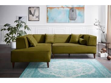 Alte Gerberei Ecksofa »Marten«, grün, Ottomane links, B/H/T: 241x41x67cm, hoher Sitzkomfort