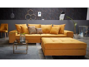 Inosign  Big-Sofa  mit Steppung im Sitzbereich »Vale«, gold, B/H/T: 277x38x58cm, hoher Sitzkomfort