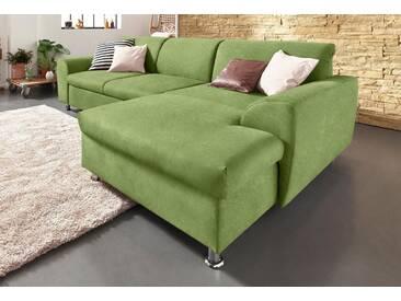 Domo Collection Polstergarnitur, grün, Recamiere rechts, B/H/T: 278x43x64cm, hoher Sitzkomfort