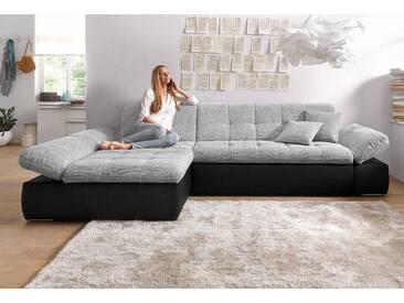 Domo Collection Ecksofa mit Schlaffunktion und Armlehnenverstellung, silber, Recamiere links, B/H/T: 300x43x134cm, hoher Sitzkomfort