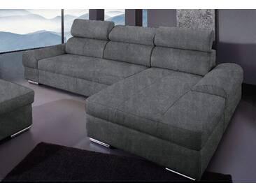 Sit&more Ecksofa mit Schlaffunktion, grau, Recamiere rechts, hoher Sitzkomfort