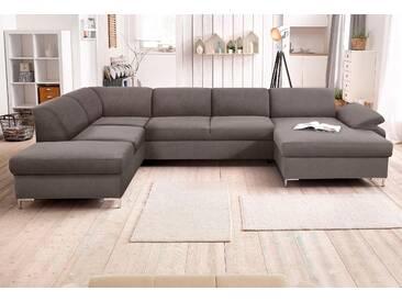 Domo Collection Wohnlandschaft, Recamiere rechts, grau, B/H/T: 352x46x60cm, hoher Sitzkomfort