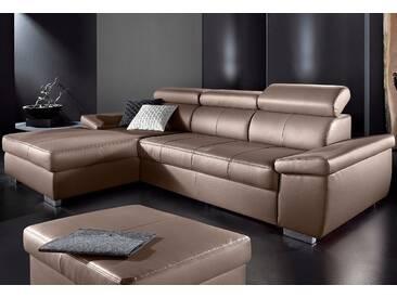 Sit&more Ecksofa mit Schlaffunktion, braun, Recamiere links, B/H/T: 284x42x58cm, hoher Sitzkomfort