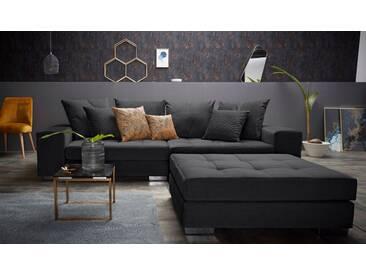 Inosign  Big-Sofa  mit Steppung im Sitzbereich »Vale«, schwarz, B/H/T: 277x38x58cm, hoher Sitzkomfort