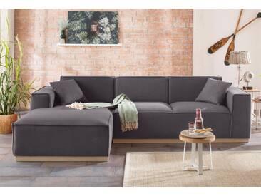 Home Affaire Polsterecke »Terry«, grau, Recamiere links, B/H/T: 274x44x59cm, hoher Sitzkomfort