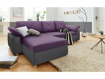 Sit&more Polstergarnitur mit Schlaffunktion und Bettkasten, grau, B/H: 264x43cm, hoher Sitzkomfort