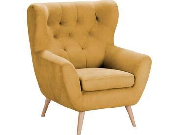 Home Affaire  Sessel  mit moderner Knopfheftung »VOSS«, senf, B/H/T: 87x47x53cm, hoher Sitzkomfort