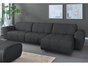 Natuzzi Ecksofa »Alessio«, schwarz, Recamiere rechts, B/H/T: 336x43x67cm, hoher Sitzkomfort