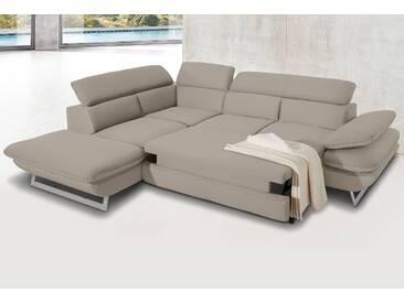Inosign Polstergarnitur mit Schlaffunktion, beige, B/H/T: 265x45x60cm, hoher Sitzkomfort