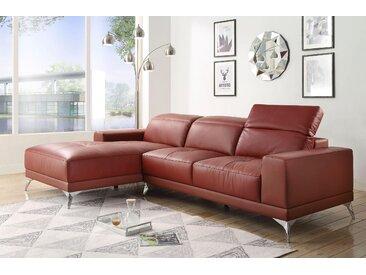 Atlantic Home Collection Eck-Sofa, rot, komfortabler Federkern, hoher Sitzkomfort