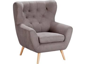 Home Affaire  Sessel  mit moderner Knopfheftung »VOSS«, grau-beige, B/H/T: 87x47x53cm, hoher Sitzkomfort