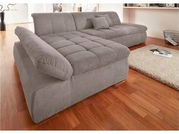 Domo Collection Polstergarnitur, braun, Recamiere links, B/H/T: 300x43x134cm, hoher Sitzkomfort