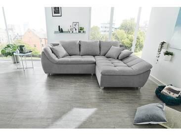 Cnouch Ecksofa, grau, B/H/T: 250x48x64cm, hoher Sitzkomfort