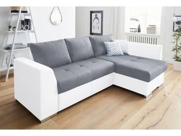 Cotta Ecksofa mit Schlaffunktion und Bettkasten, weiß, B/H/T: 241x46x51cm, hoher Sitzkomfort