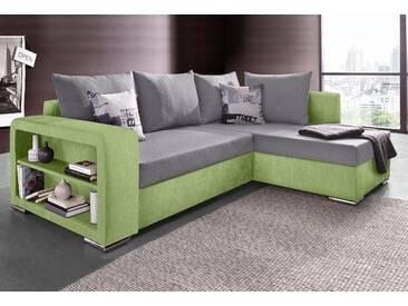 Collection Ab Polsterecke mit Schlaffunktion, grün, B/H/T: 226x42x55cm, hoher Sitzkomfort