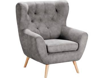 Home Affaire  Sessel  mit moderner Knopfheftung »VOSS«, hellgrau, B/H/T: 87x47x53cm, hoher Sitzkomfort