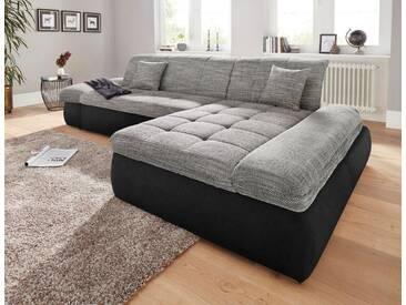 Domo Collection Ecksofa, grau, Recamiere rechts, B/H/T: 300x43x134cm, hoher Sitzkomfort