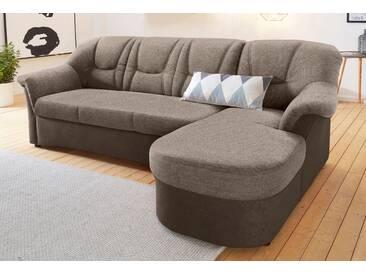 Domo Collection Polstergarnitur, braun, Recamiere rechts, B/H/T: 232x40x51cm, hoher Sitzkomfort