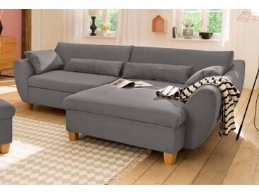 Home Affaire Ecksofa »Becca« mit Bettfunktion, grau, Recamiere rechts, B/H/T: 254x44x128cm, hoher Sitzkomfort