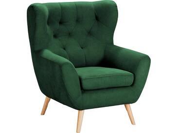 Home Affaire  Sessel  mit moderner Knopfheftung »VOSS«, mossgrün, B/H/T: 87x47x53cm, hoher Sitzkomfort