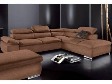 Sit&more Ecksofa, braun, Ottomane rechts, B/H/T: 274x40x60cm, hoher Sitzkomfort