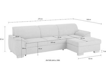 Home Affaire Eck-Couch »Bianca« mit Schlaffunktion und Bettkasten, grau, Recamiere rechts, B/H/T: 275x45x55cm, hoher Sitzkomfort