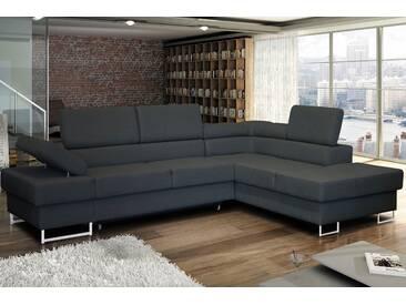 Wersal Ecksofa mit Schlaffunktion und Bettkasten, grau, Ottomane rechts, B/H/T: 275x44x58cm, hoher Sitzkomfort