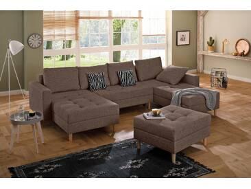 Home Affaire Wohn-Landschaft »Fabula«, braun, B/H/T: 316x44x55cm, hoher Sitzkomfort