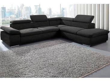 Sit&more Ecksofa mit Bettfunktion, schwarz, Ottomane rechts, B/H/T: 274x40x60cm