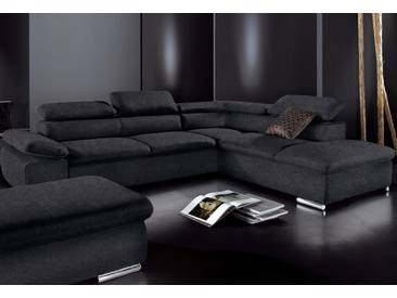 Sit&more Ecksofa mit Schlaffunktion, schwarz, Ottomane rechts, B/H/T: 274x40x60cm, hoher Sitzkomfort
