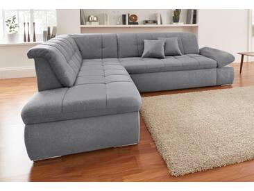 Domo Collection Ecksofa, grau, Ottomane links, B/H/T: 273x43x134cm, hoher Sitzkomfort
