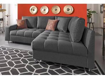 Nova Via Ecksofa mit Schlaffunktion, grau, hoher Sitzkomfort, FSC®-zertifiziert