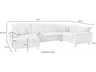 Domo Collection Wohnlandschaft, grau, hoher Sitzkomfort, FSC®-zertifiziert