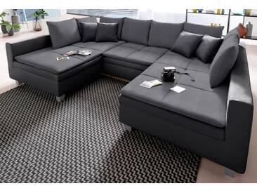 Trendmanufaktur Wohnlandschaft, schwarz, hoher Sitzkomfort