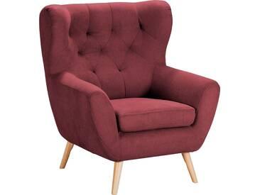 Home Affaire  Sessel  mit moderner Knopfheftung »VOSS«, weinrot, B/H/T: 87x47x53cm, hoher Sitzkomfort