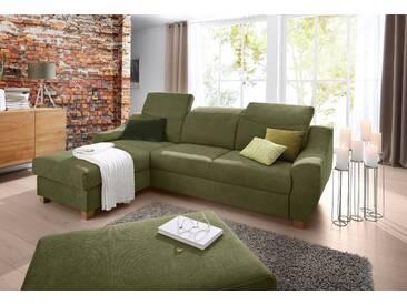 Home Affaire Ecksofa »Fiona« mit Schlaffunktion und Bettkasten, grün, Recamiere links, B/H/T: 262x43x135cm, hoher Sitzkomfort