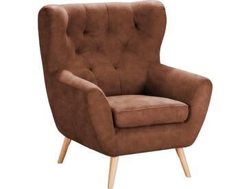 Home Affaire  Sessel  mit moderner Knopfheftung »VOSS«, cognac, B/H/T: 87x47x53cm, hoher Sitzkomfort