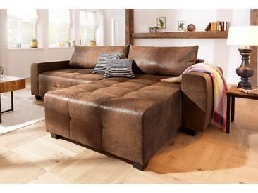 Home Affaire  Ecksofa Bella, braun, B/H/T: 254x45x55cm, hoher Sitzkomfort