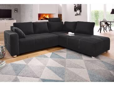 Places Of Style Ecksofa, schwarz, B/H/T: 257x42x53cm, hoher Sitzkomfort