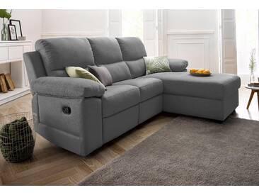 Atlantic Home Collection Sitzecke mit Relaxfunktion, grau, Recamiere rechts, B/T: 224x50cm, hoher Sitzkomfort