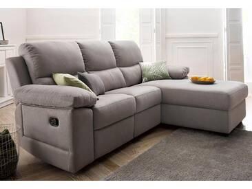 Atlantic Home Collection Ecksofa mit Relaxfunktion, grau, Recamiere rechts, B/T: 224x50cm, hoher Sitzkomfort