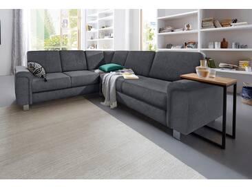 Sit&more Eck-Sofa mit Bettfunktion, grau, komfortabler Federkern, FSC®-zertifiziert