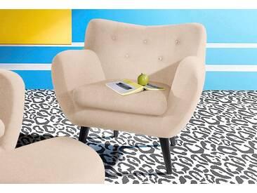 Inosign  Sessel im Retro-Style, beige, B/H/T: 91x48x52cm, hoher Sitzkomfort