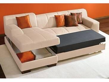 Home Affaire Sitzecke »Falk« mit Bettfunktion, beige, Recamiere links, B/H/T: 262x42x90cm, hoher Sitzkomfort