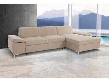 Domo Collection Ecksofa, beige, B/H/T: 302x46x60cm, hoher Sitzkomfort